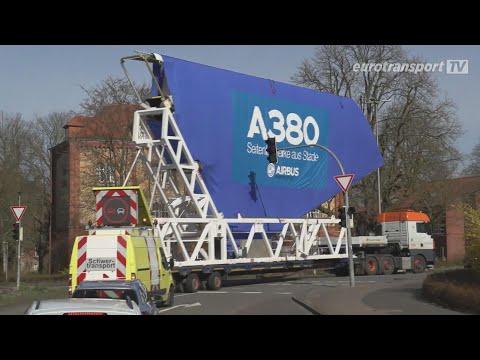 eurotransport TV - XXL Fracht Unterwegs mit dem Seitenleitwerk eines Airbus A380